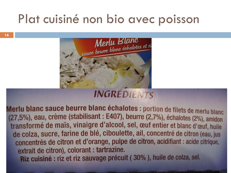 Plat cuisiné non bio avec poisson