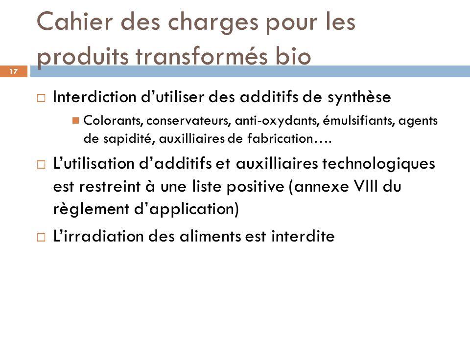 Cahier des charges pour les produits transformés bio