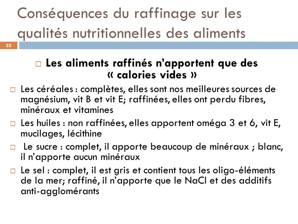 Les aliments raffinés n'apportent que des « calories vides »