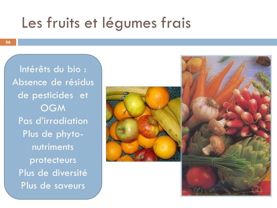 Les fruits et légumes frais