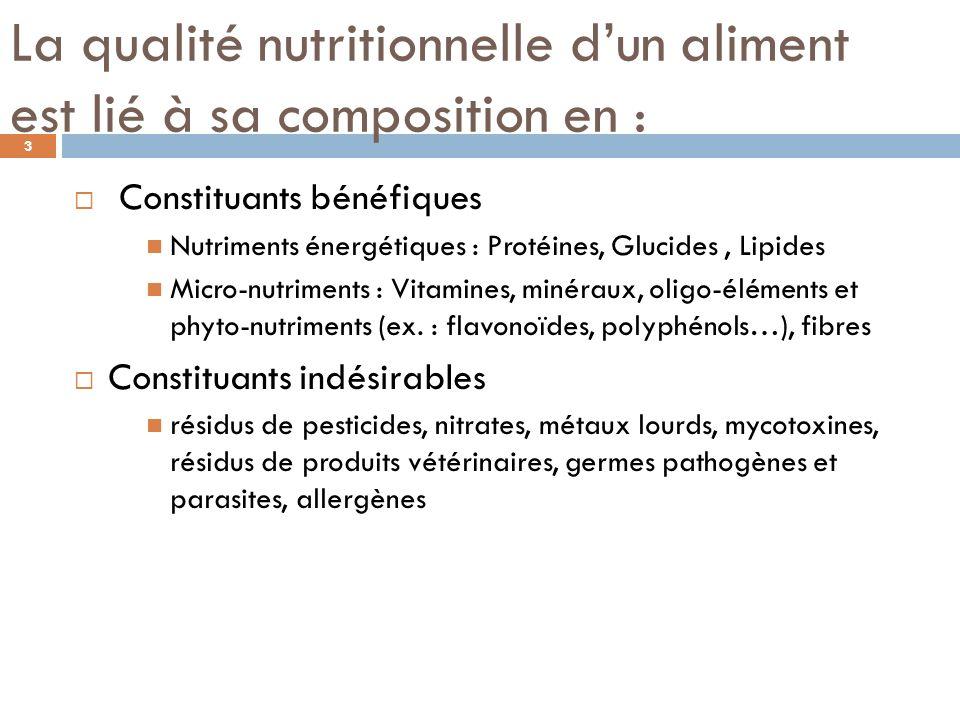 La qualité nutritionnelle d'un aliment est lié à sa composition en :
