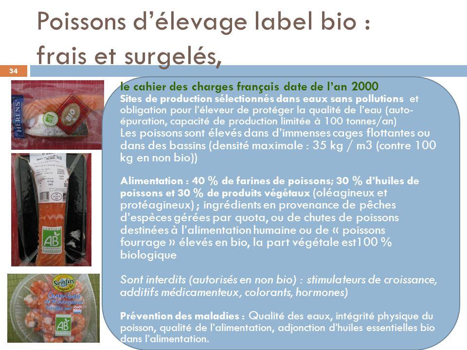 Poissons d'élevage label bio : frais et surgelés,