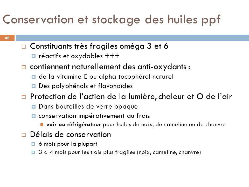 Conservation et stockage des huiles ppf