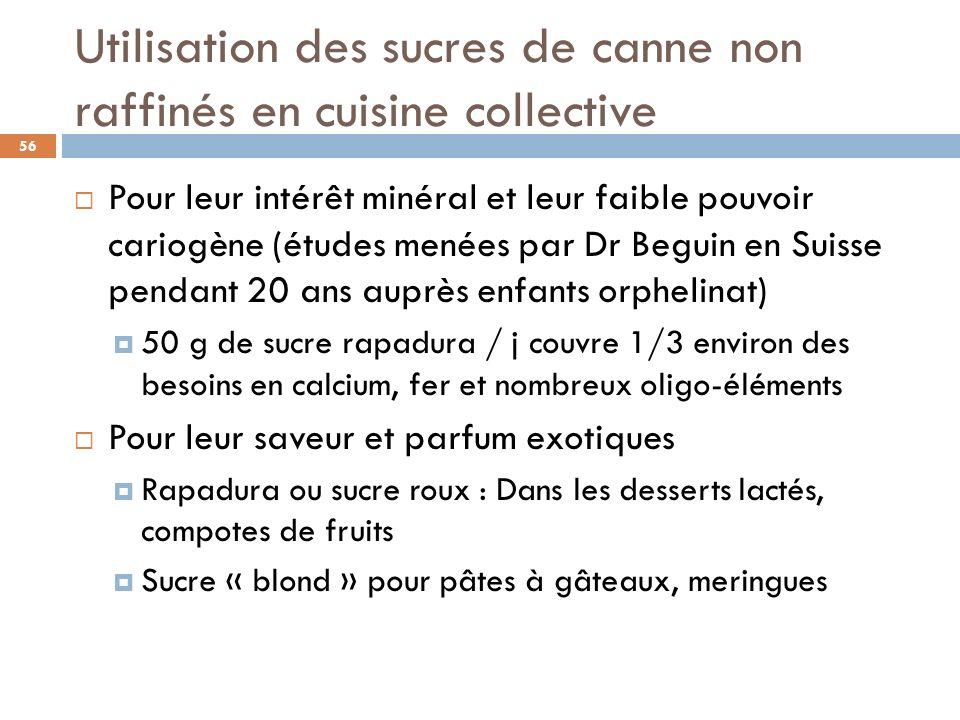 Utilisation des sucres de canne non raffinés en cuisine collective