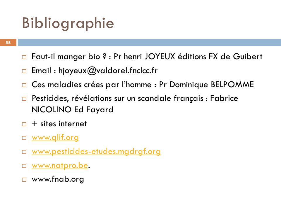 Bibliographie Faut-il manger bio : Pr henri JOYEUX éditions FX de Guibert. Email : hjoyeux@valdorel.fnclcc.fr.