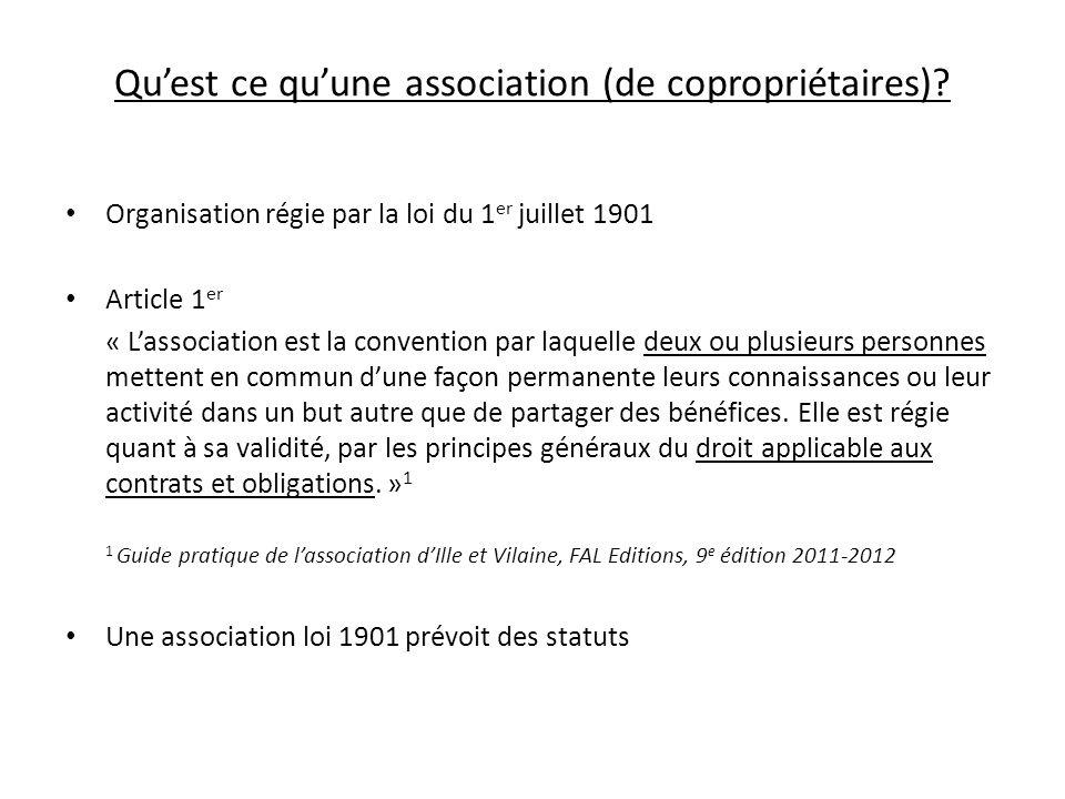 Qu'est ce qu'une association (de copropriétaires)