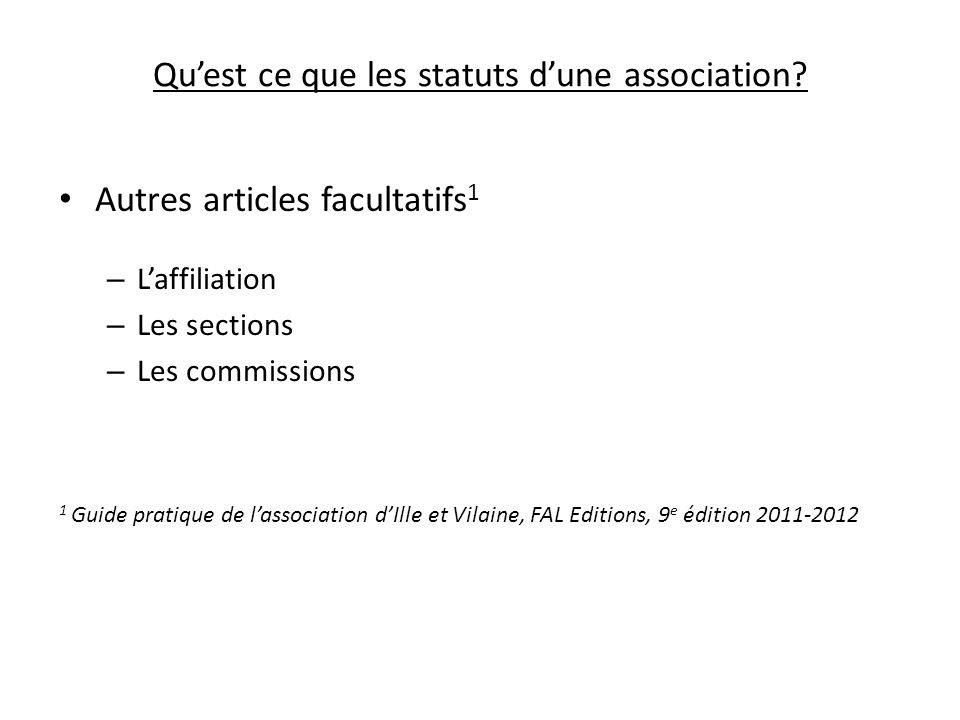Qu'est ce que les statuts d'une association