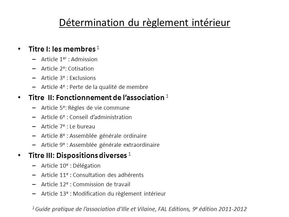 Détermination du règlement intérieur