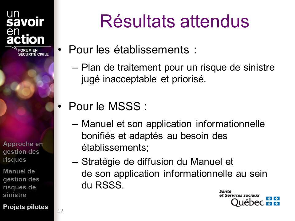 Résultats attendus Pour les établissements : Pour le MSSS :