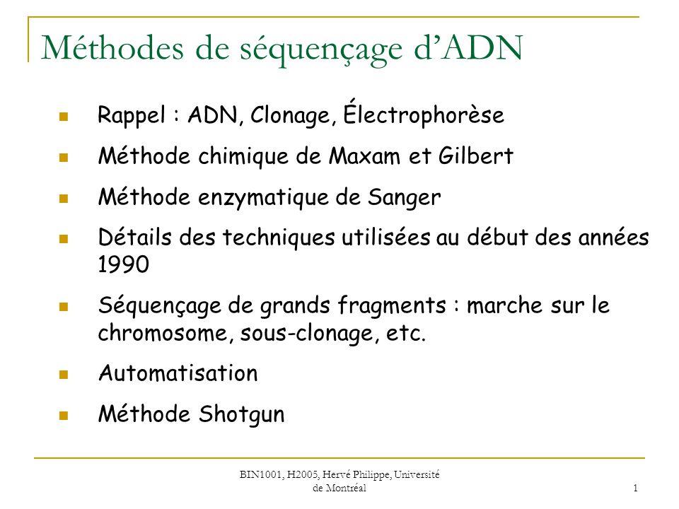 Méthodes de séquençage d'ADN