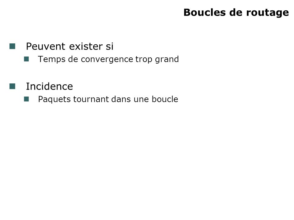 Boucles de routage Peuvent exister si Incidence