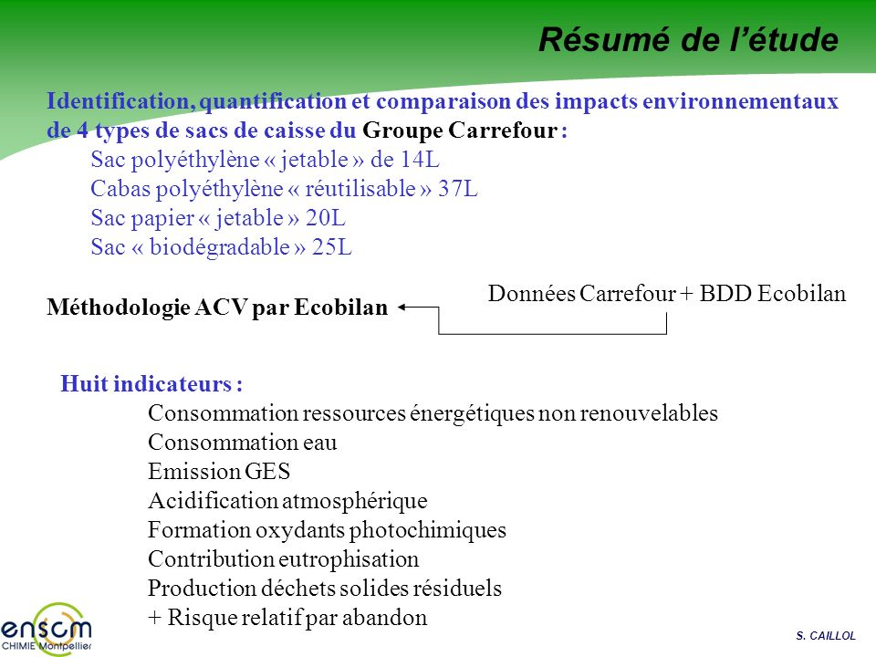 Résumé de l'étude Identification, quantification et comparaison des impacts environnementaux de 4 types de sacs de caisse du Groupe Carrefour :