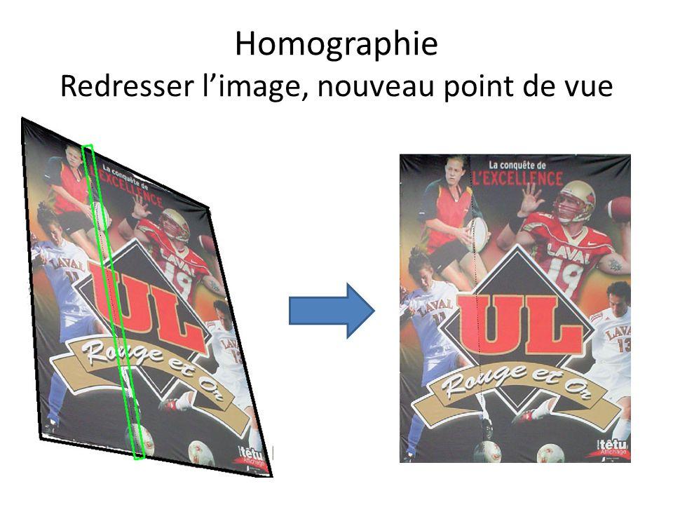 Homographie Redresser l'image, nouveau point de vue