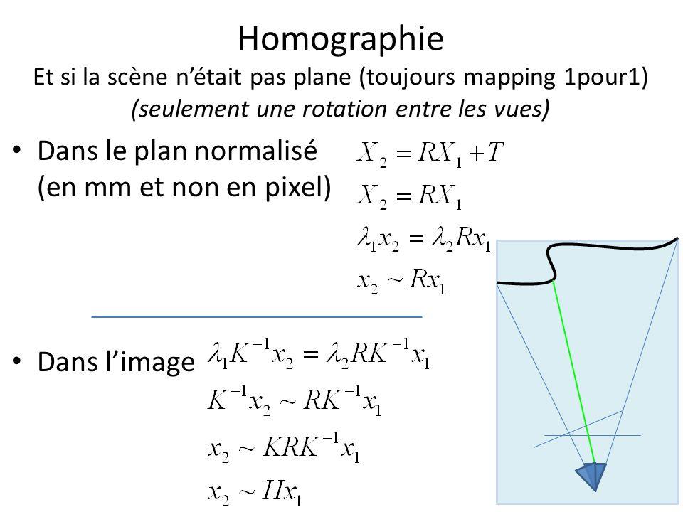 Homographie Et si la scène n'était pas plane (toujours mapping 1pour1) (seulement une rotation entre les vues)