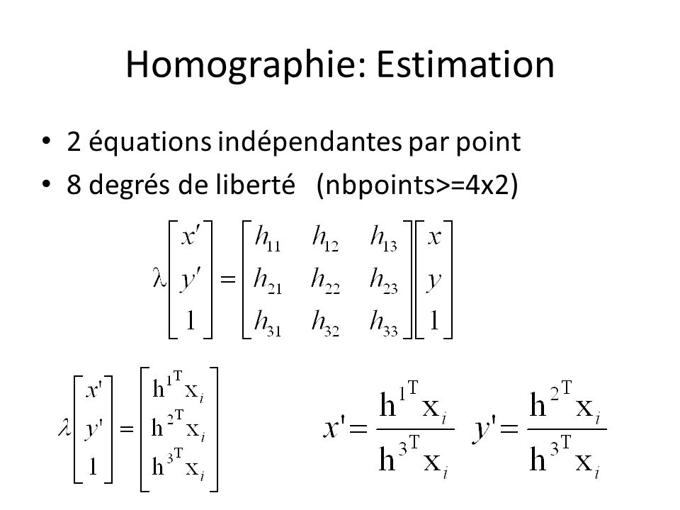 Homographie: Estimation