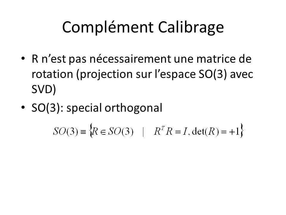 Complément Calibrage R n'est pas nécessairement une matrice de rotation (projection sur l'espace SO(3) avec SVD)