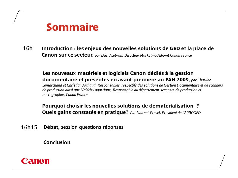 Sommaire 16h.