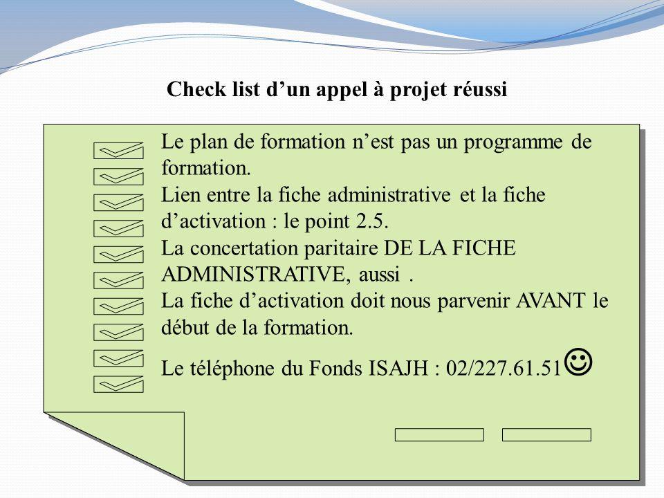 Check list d'un appel à projet réussi