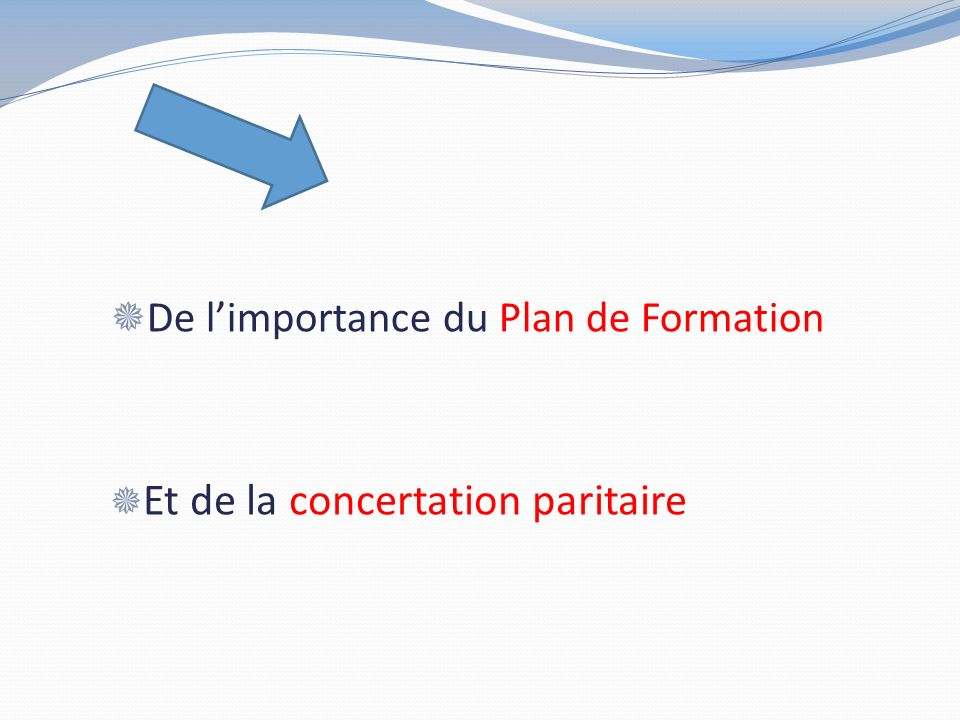 De l'importance du Plan de Formation