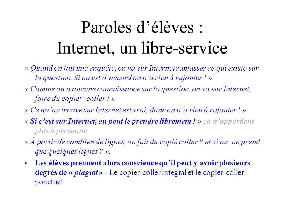 Paroles d'élèves : Internet, un libre-service