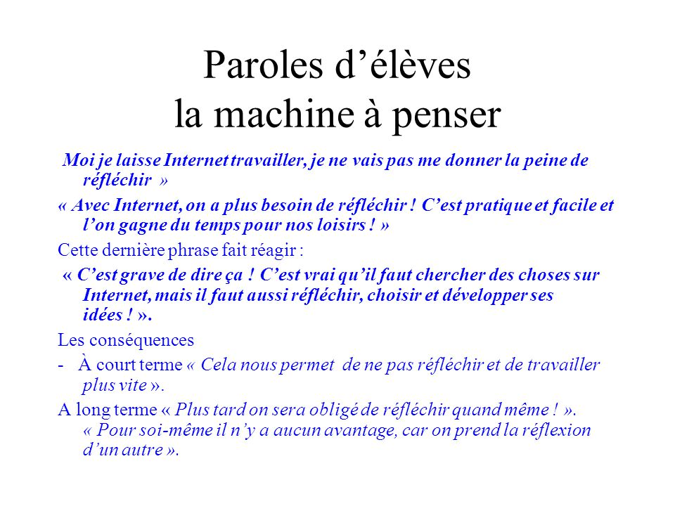 Paroles d'élèves la machine à penser