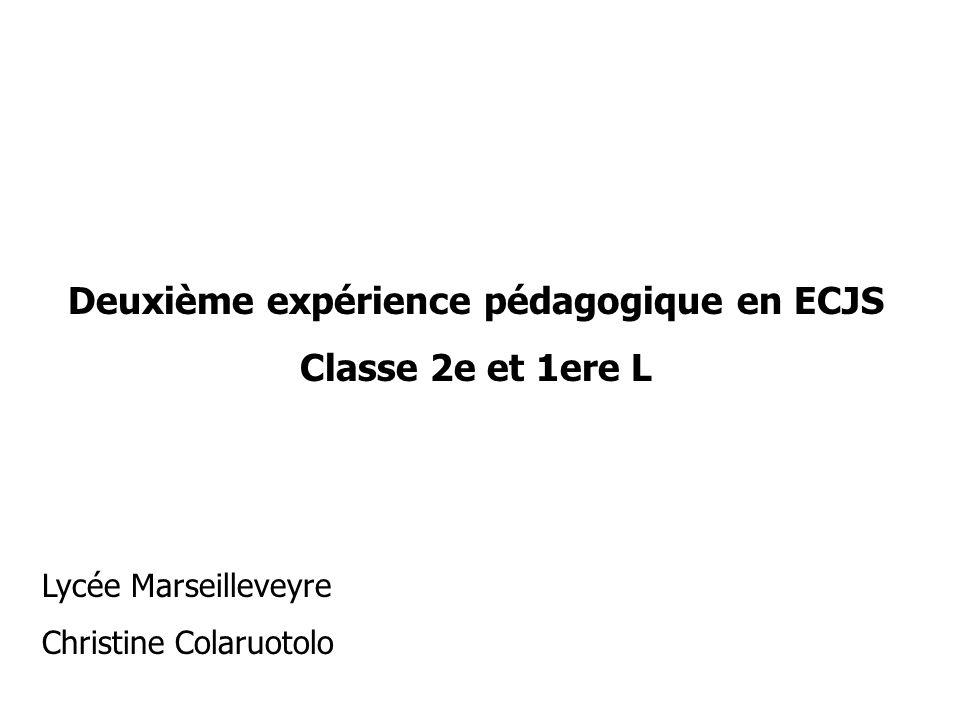 Deuxième expérience pédagogique en ECJS
