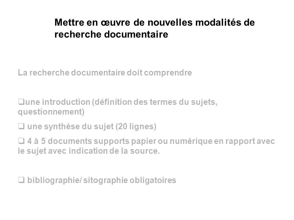 Mettre en œuvre de nouvelles modalités de recherche documentaire