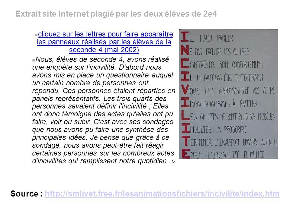 Extrait site Internet plagié par les deux élèves de 2e4