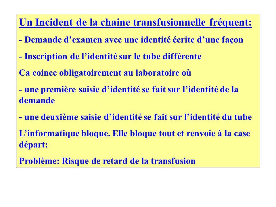 Un Incident de la chaine transfusionnelle fréquent: