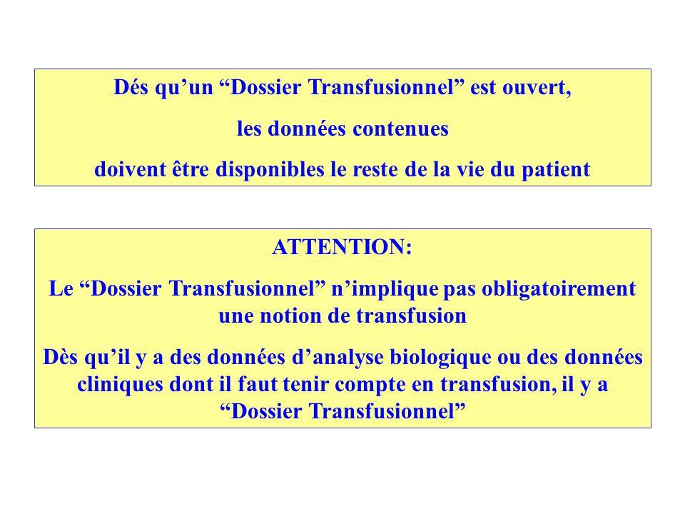 Dés qu'un Dossier Transfusionnel est ouvert, les données contenues