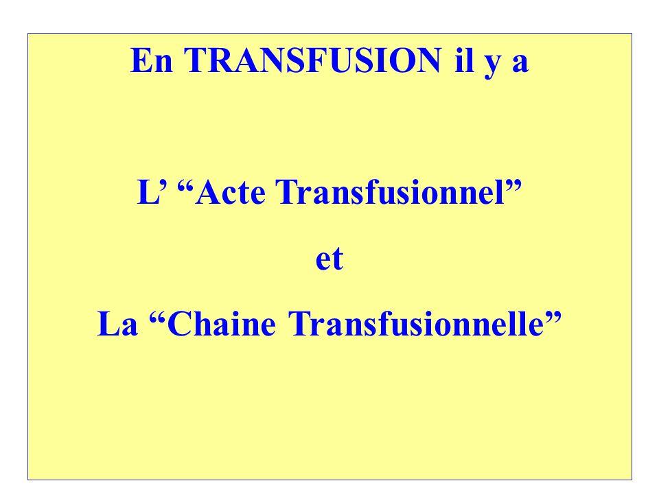 L' Acte Transfusionnel La Chaine Transfusionnelle