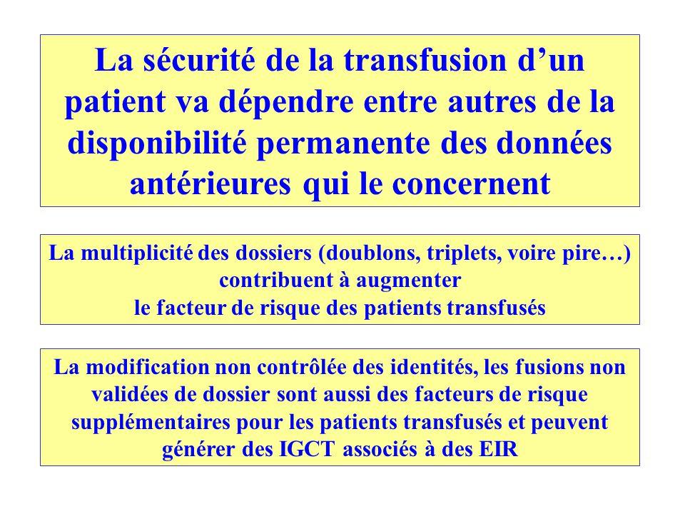 La sécurité de la transfusion d'un patient va dépendre entre autres de la disponibilité permanente des données antérieures qui le concernent