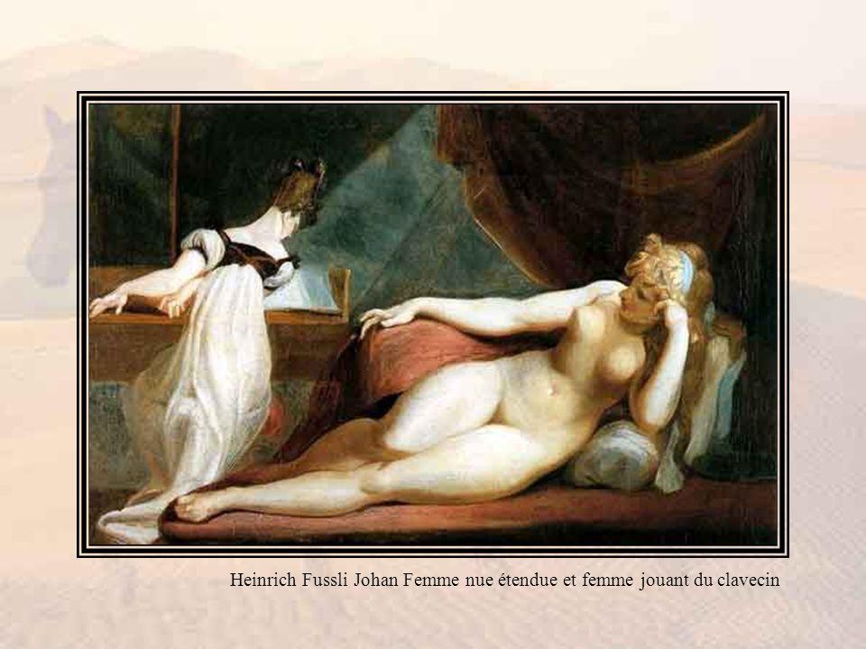 Heinrich Fussli Johan Femme nue étendue et femme jouant du clavecin