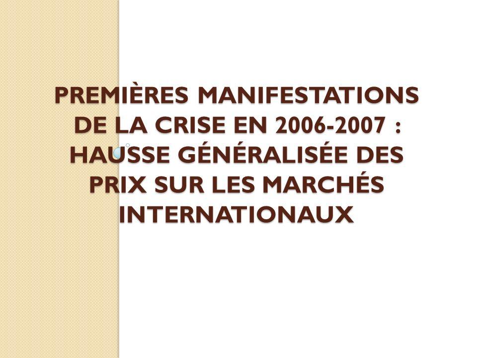 Premières Manifestations de la crise en 2006-2007 : hausse généralisée des prix sur les marchés internationaux