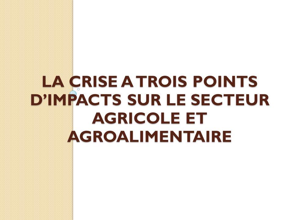 la crise a trois points d'impacts sur le secteur agricole et agroalimentaire