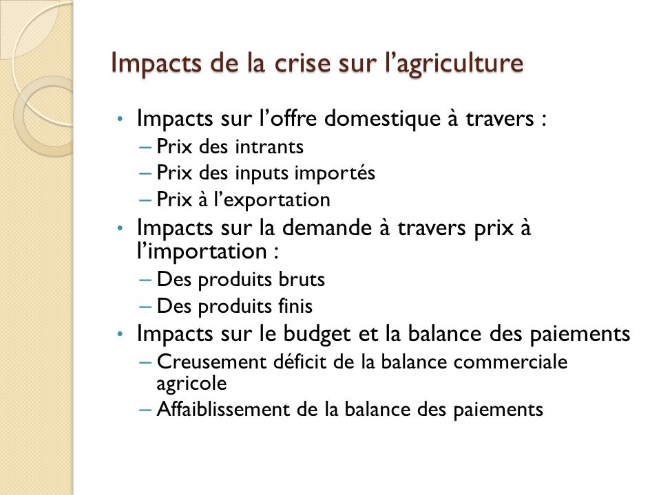 Impacts de la crise sur l'agriculture