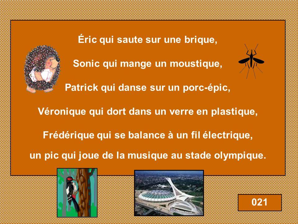 Éric qui saute sur une brique, Sonic qui mange un moustique, Patrick qui danse sur un porc-épic, Véronique qui dort dans un verre en plastique, Frédérique qui se balance à un fil électrique, un pic qui joue de la musique au stade olympique.