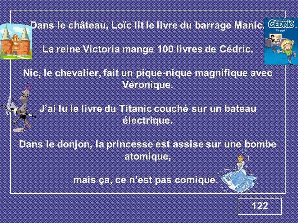 Dans le château, Loïc lit le livre du barrage Manic