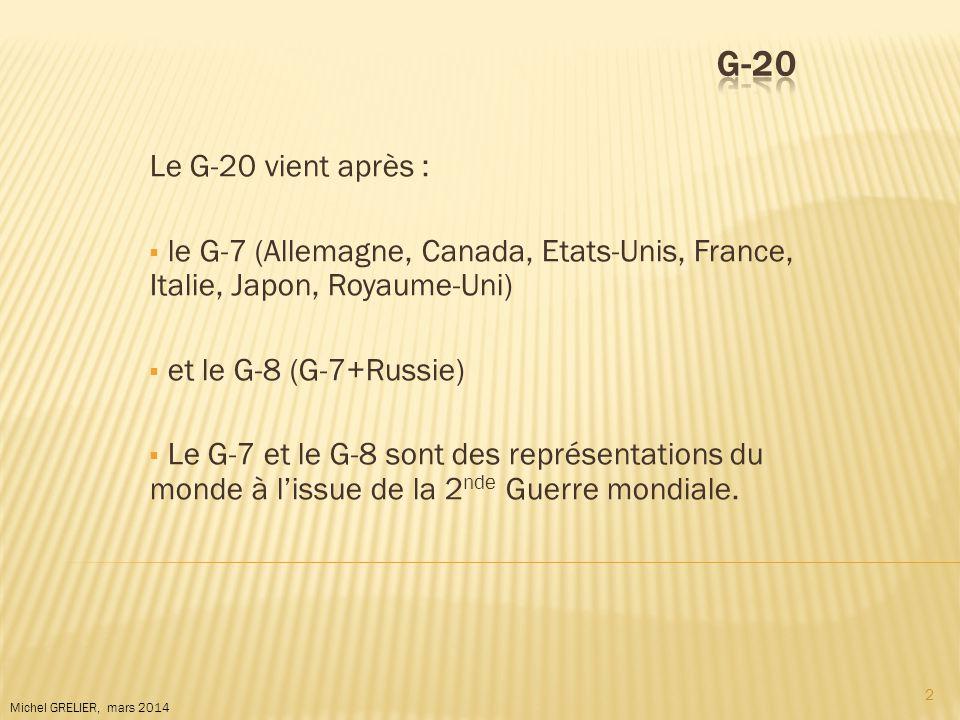 G-20 Le G-20 vient après : le G-7 (Allemagne, Canada, Etats-Unis, France, Italie, Japon, Royaume-Uni)