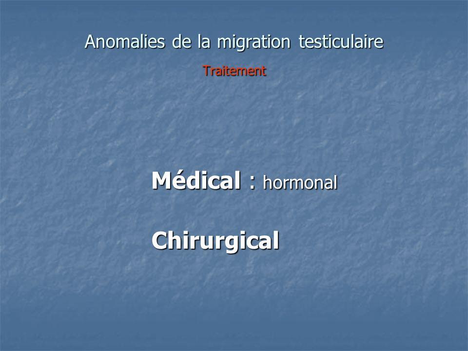 Anomalies de la migration testiculaire Traitement
