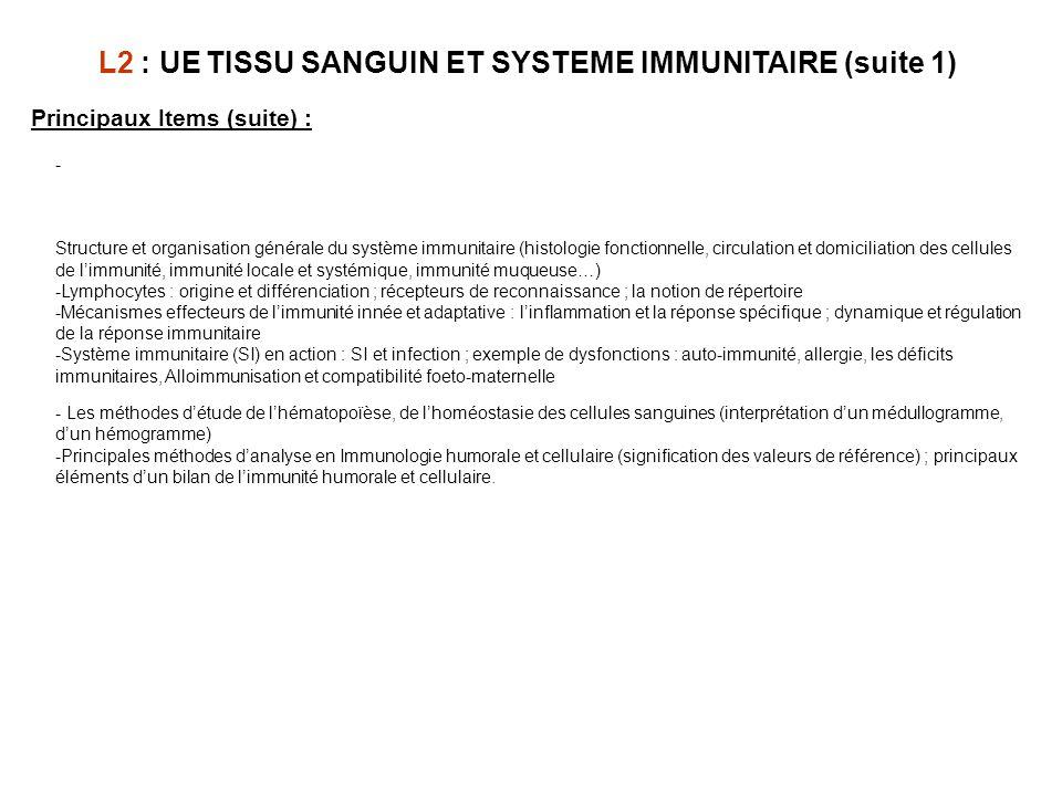 L2 : UE TISSU SANGUIN ET SYSTEME IMMUNITAIRE (suite 1)