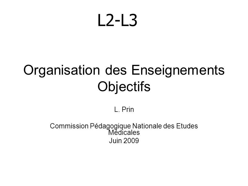 Organisation des Enseignements Objectifs