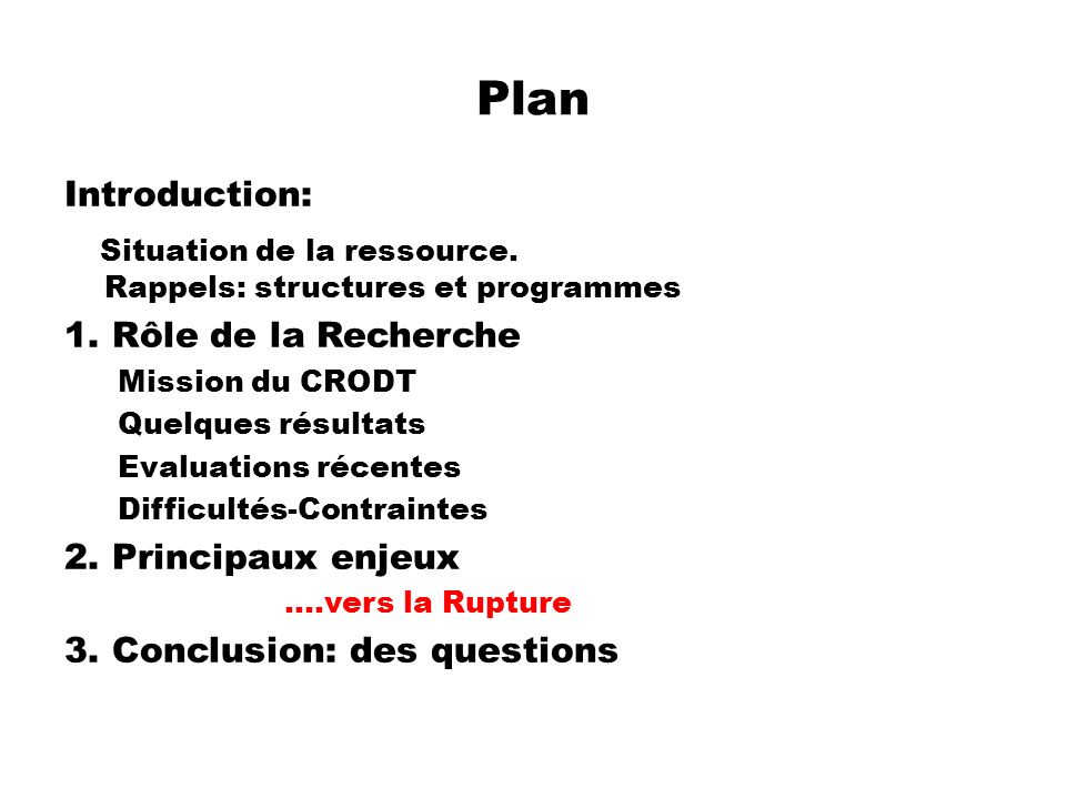 Plan Introduction: Situation de la ressource. Rappels: structures et programmes.
