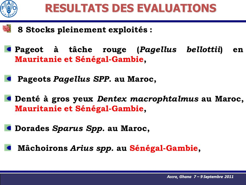 RESULTATS DES EVALUATIONS