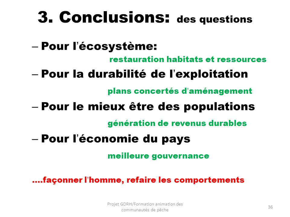 3. Conclusions: des questions
