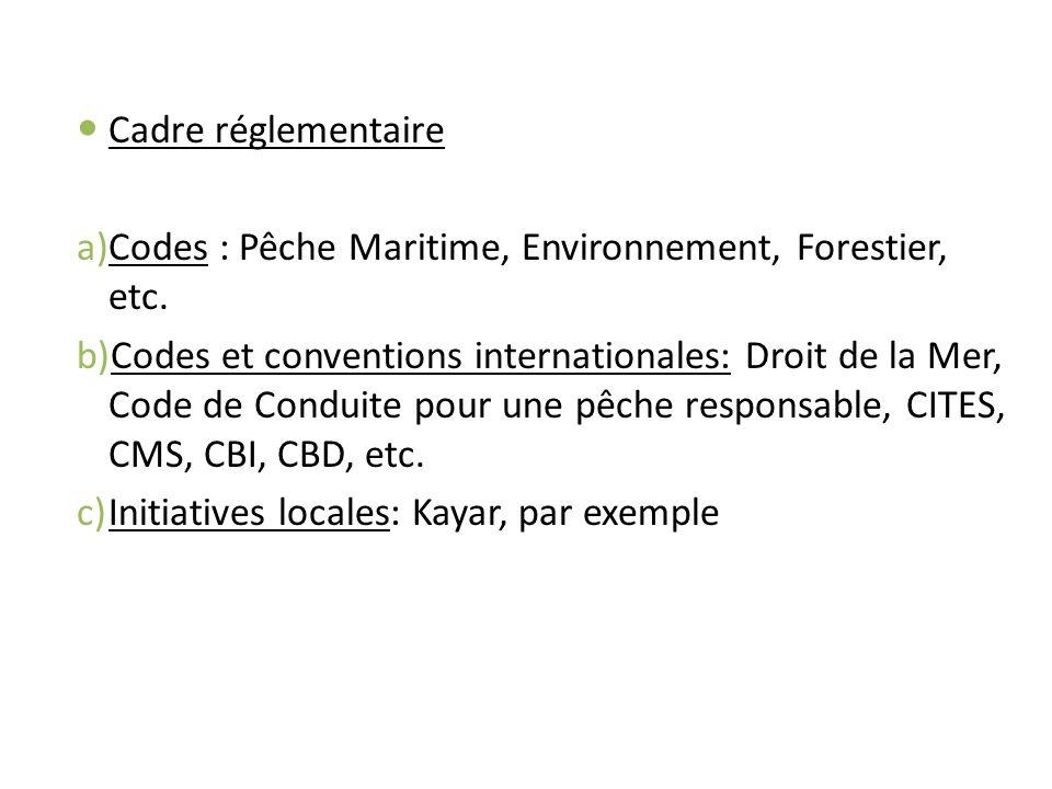 Cadre réglementaireCodes : Pêche Maritime, Environnement, Forestier, etc.