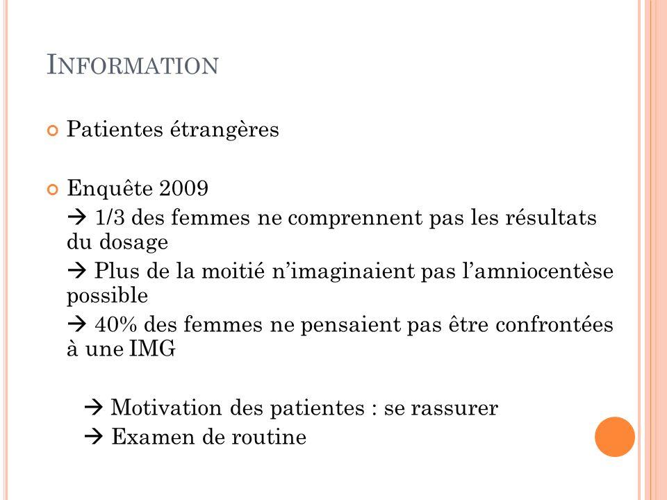 Information Patientes étrangères Enquête 2009