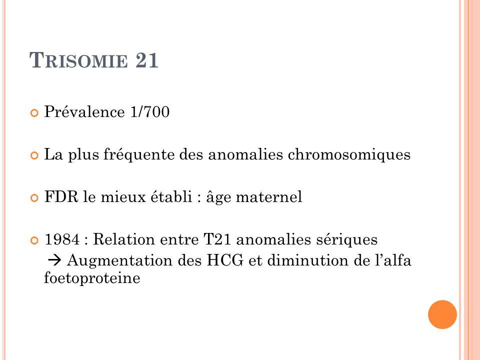 Trisomie 21Prévalence 1/700. La plus fréquente des anomalies chromosomiques. FDR le mieux établi : âge maternel.