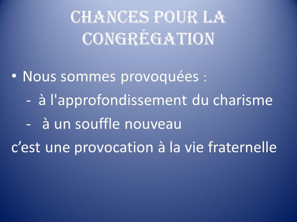 Chances pour la Congrégation
