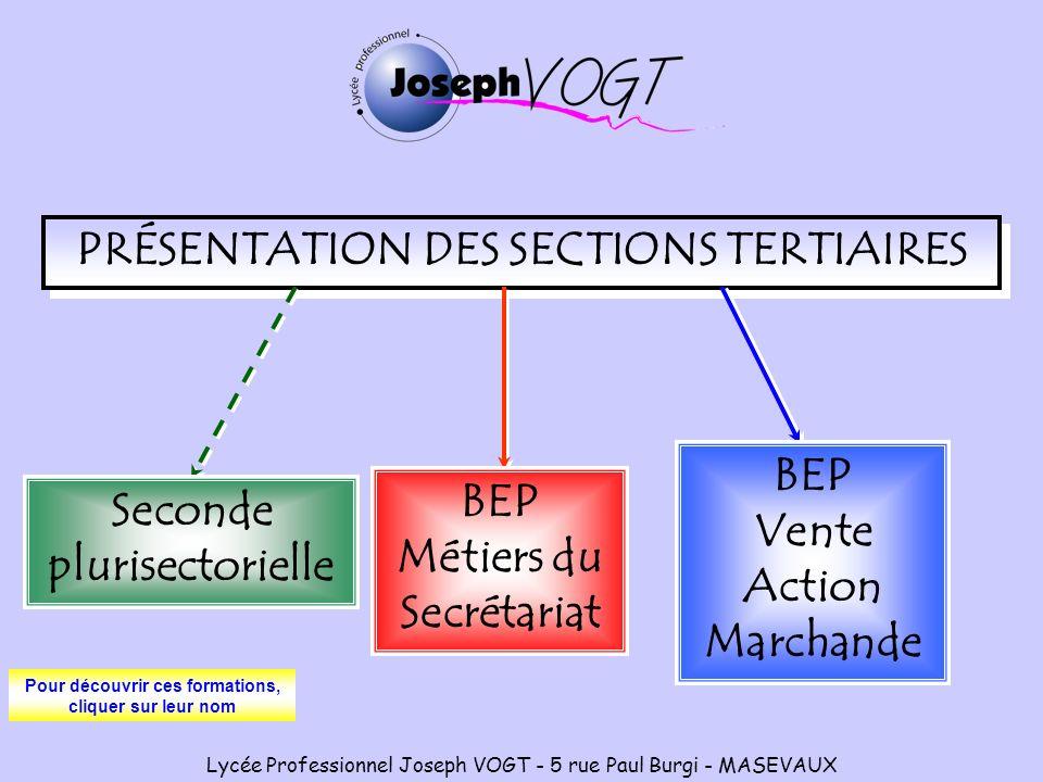 PRÉSENTATION DES SECTIONS TERTIAIRES